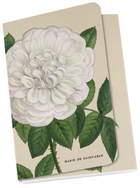 """Taschennotizblöckchen """"Weiße """"Alte Gartenrosen"""""""""""