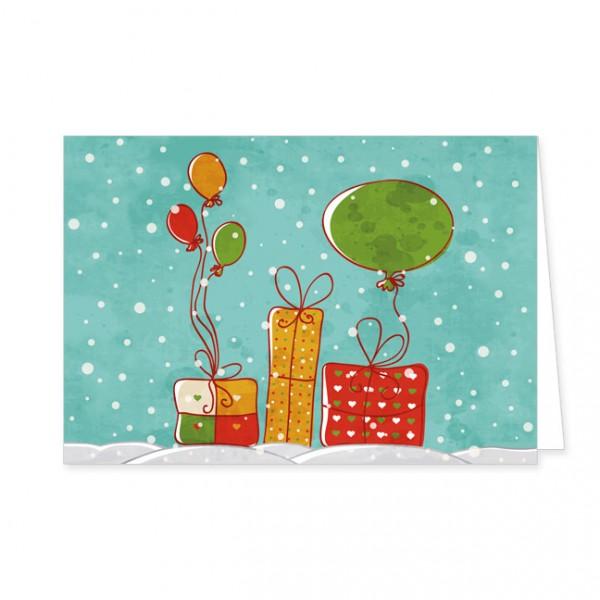 """Doppelkarte """"Geschenke und Luftballons"""""""