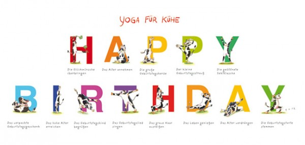 "XXL-Postkarte ""Yoga für Kühe – Happy Birthday"""