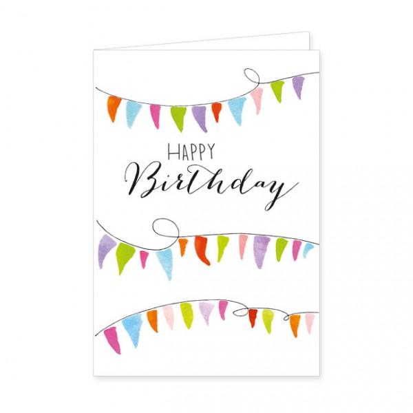 """Doppelkarten """"Happy Birthday - Wimpel"""""""