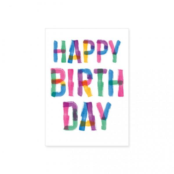 """Postkarte """"Buntes Happy Birthday"""""""
