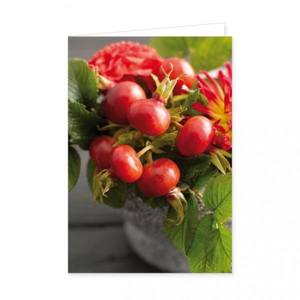"""Doppelkarte """"Hagebutten und Herbstblumen"""""""