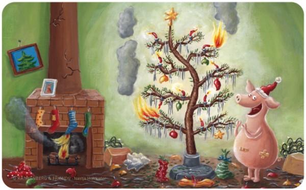 Frühstücksbrettchen 'Weihnachten mit dem Chaos-Schwein'