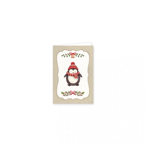"Mini-Doppelkarte X-Mas ""Knuddliger Pinguin"""