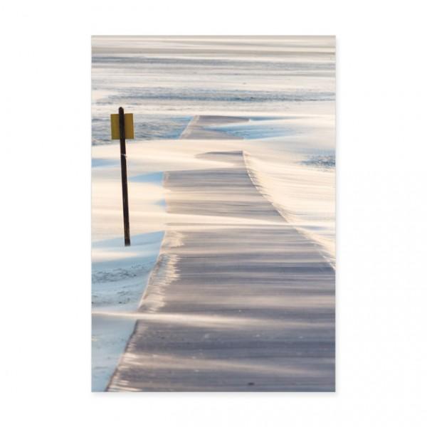 """Postkarten Large """" Juist, am Strand bei Sturm mit Sandverwehungen """""""