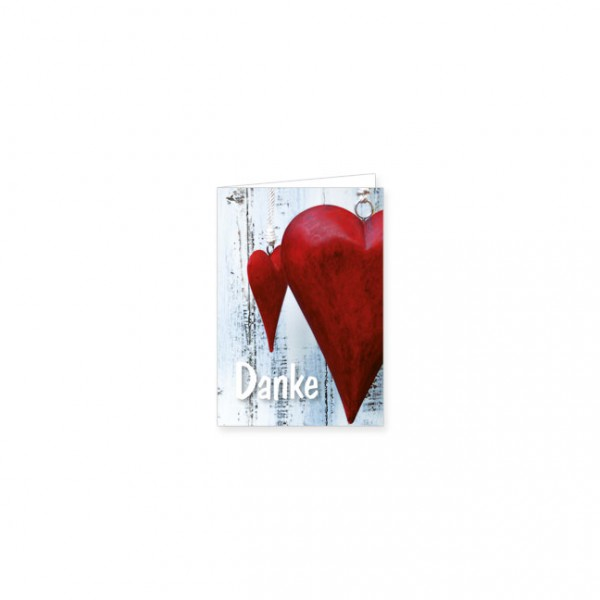 """Mini-Doppelkarte """"Rote Herzen zum Dank"""""""