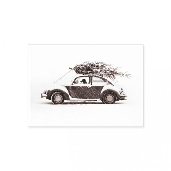 """Postkarte """"Autofahrt mit Weihnachtsbaum"""""""