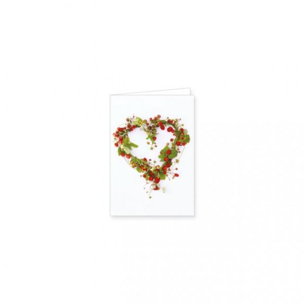 """Mini-Doppelkarte """"Herz aus Erdbeeren"""""""