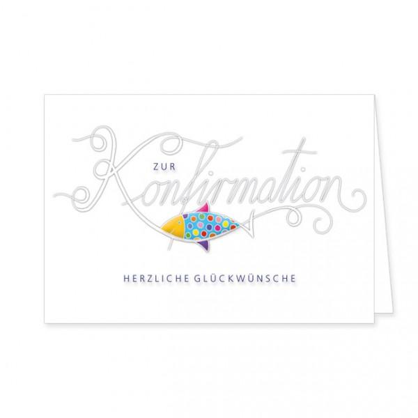 """Doppelkarten """"Herzliche Glückswünsche zur Konfirmation mit Fisch"""""""
