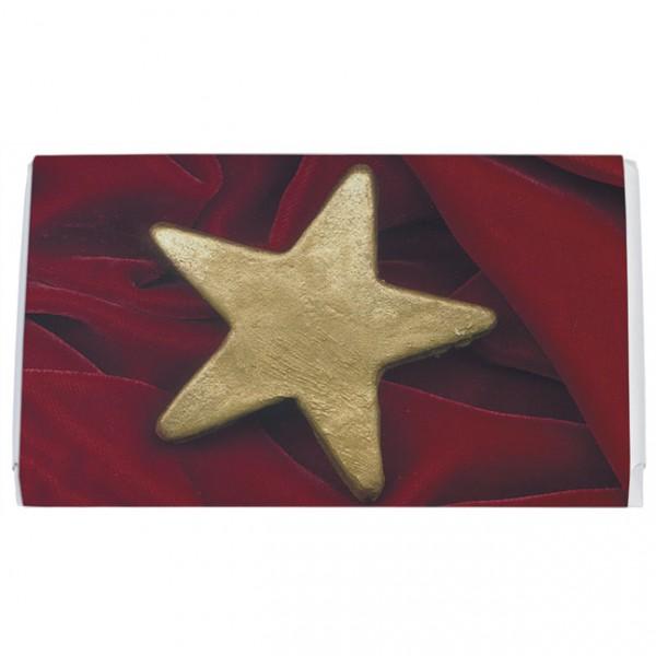 Schokoladentäfelchen Weihnachten 'Stern auf Samt'