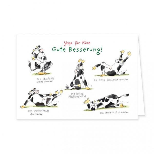 """Doppelkarte """"Yoga für Kühe - Gute Besserung"""""""