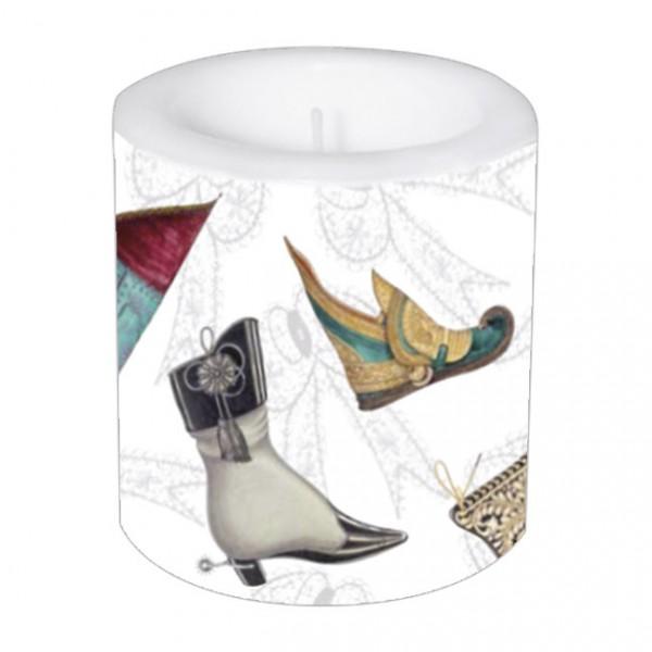 Lampionkerze 'Historische Schuhe'