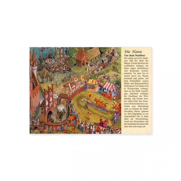"""Postkarte """"Die Hanse: Vor dem Stadttor"""""""