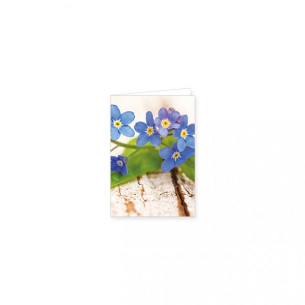 """Mini-Doppelkarte """"Vergissmeinnicht-Blüten auf Holz"""""""