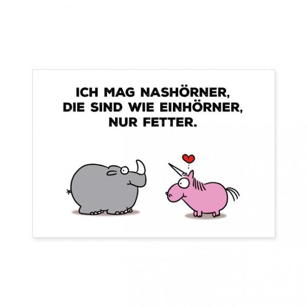 """Postkarten Large """"Einhorn und Nashorn"""""""