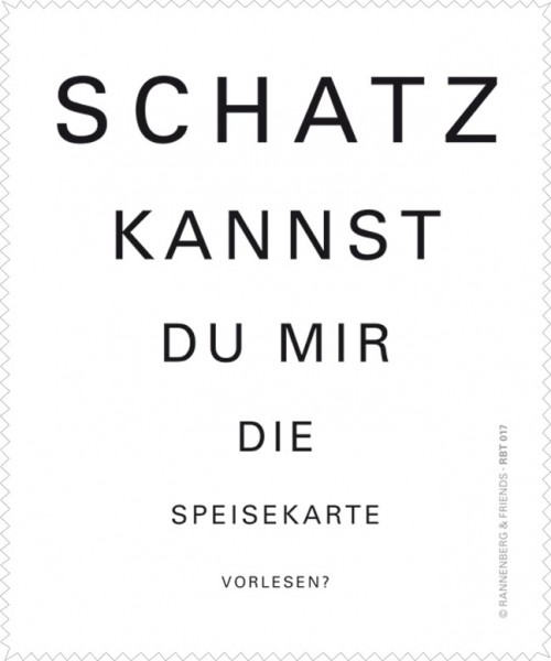 """Brillenputztuch """"Schatz, kannst Du ... Speisekarte"""""""