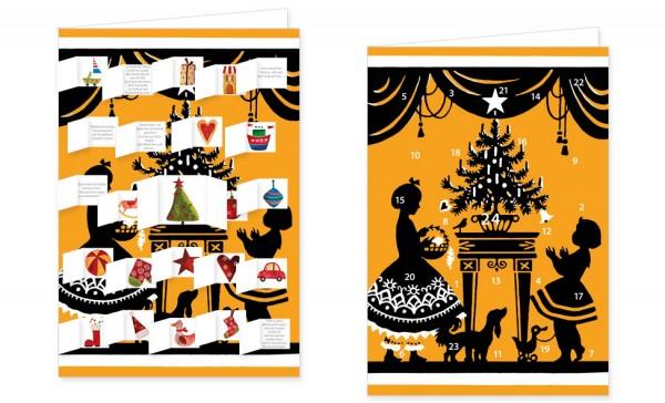 """Adventskalenderkarten """" Der Weihnachtsbaum mit Geschenken """""""