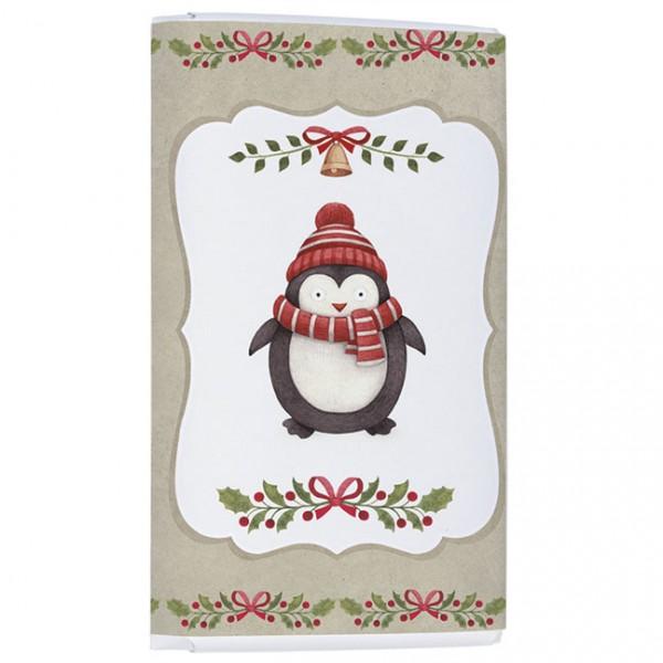 Schokoladentäfelchen Weihnachten 'Knuddliger Pinguin'