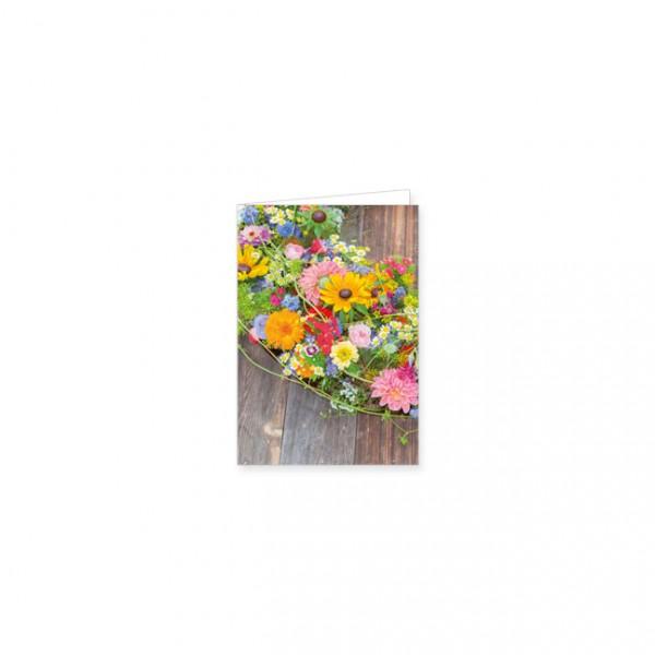 """Mini-Doppelkarte """"Kranz mit Sommerblumen"""""""