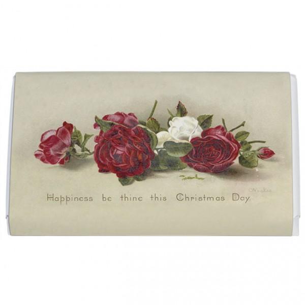 Schokoladentäfelchen Weihnachten 'Rote und weiße Rosen'