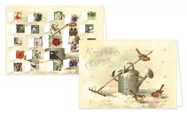 Adventskalenderdoppelkarte 'Nostalgische Weihnachten Garten'