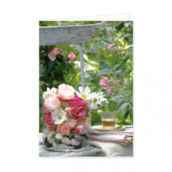 "Doppelkarte ""Blütenglas im Sommergarten"""