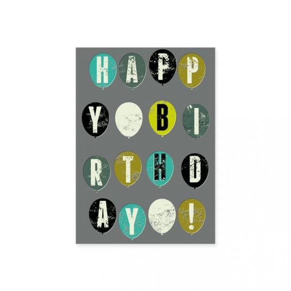 """Postkarte """"Happy Birthday auf Luftballons"""""""