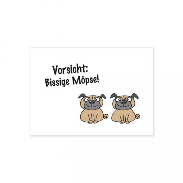 "Postkarte ""Bissige Möpse"""