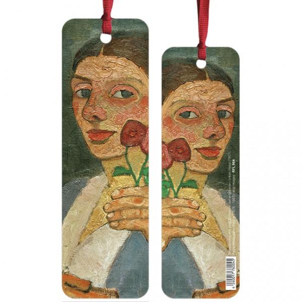 """Lesezeichen """" Selbstbildnis mit zwei Blumen in der erhobenen linken Hand """""""