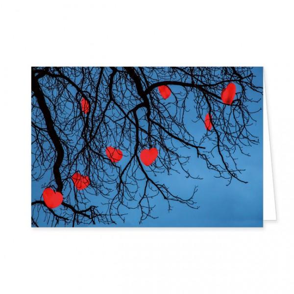 "Doppelkarten ""Leuchtende rote Herzen"""
