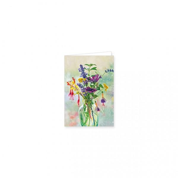 """Mini-Doppelkarte """"Sommerstrauß in einer Glasvase"""""""