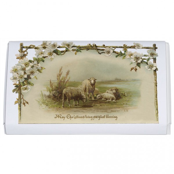 Schokoladentäfelchen Weihnachten 'Christrosen mit Schafsherde'