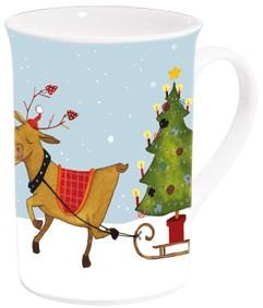 Becher Weihnachten 'Rentier mit Weihnachtsbaum'