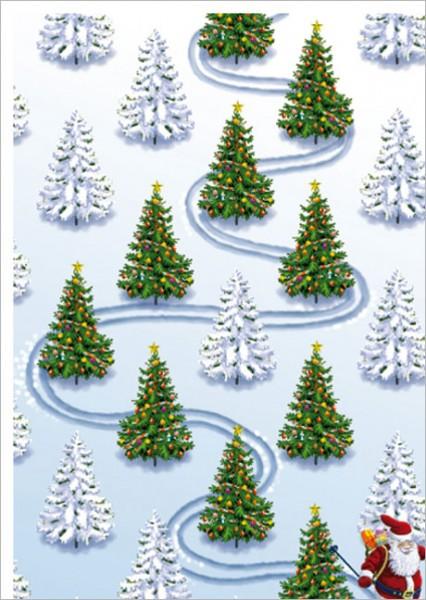 "Postkarte X-Mas ""Weihnachtsmannslalom"""