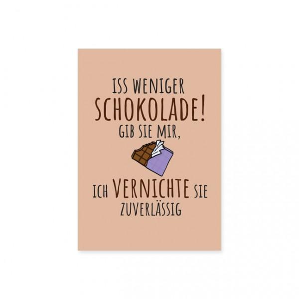 "Postkarte "" Weniger Schokolade """