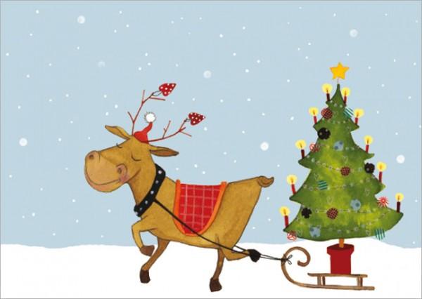 """Postkarte X-Mas """"Rentier mit Weihnachtsbaum"""""""
