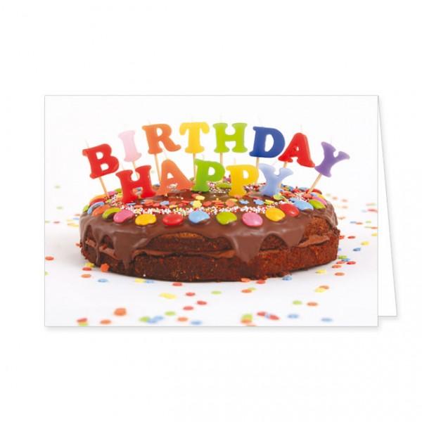 Doppelkarte Happy Birthday Kuchen Doppelkarte Geburtstag