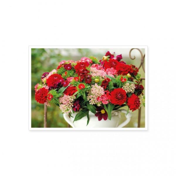 """Postkarte """" Sommerblumen in weisser Vase """""""