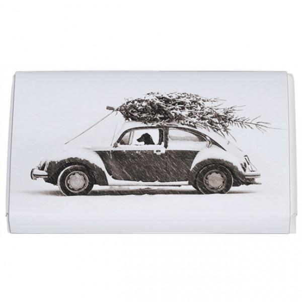 Schokoladentäfelchen Weihnachten 'Autofahrt mit Weihanchtsbaum'