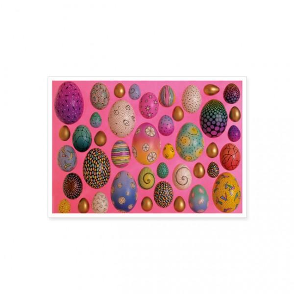 """Postkarte """"Bemalte Ostereier auf rosa Hintergrund"""""""