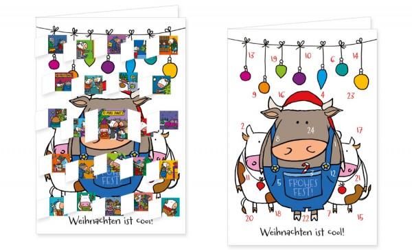 Adventskalenderdoppelkarte 'Cool Kühe'