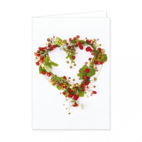 """Doppelkarte """"Herz aus Erdbeeren"""""""
