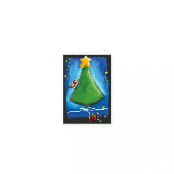 """Mini-Doppelkarte X-Mas """"weihnachtsbaumund weihnachtsmann"""""""