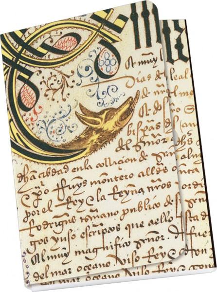 """Taschennotizblock Gold """"Privilegienbuch des Christopher Columbus, 1492"""""""