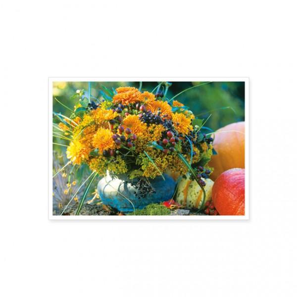 """Postkarte """"Herbststrauss mit Kürbis"""""""
