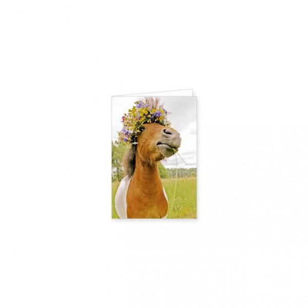 "Mini-Doppelkarte ""Pferd mit Blütenkranz"""