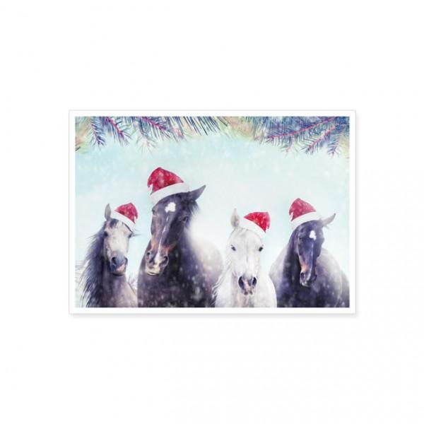 """Postkarte X-Mas """"Hottehü mit Weihnachtsmütze"""""""