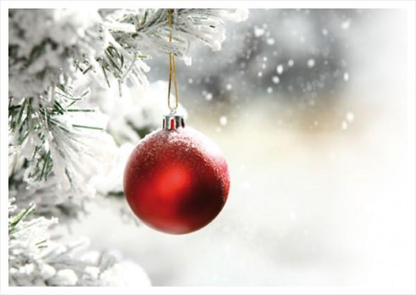 "Postkarte X-Mas ""Rote Weihnachtskugel"""