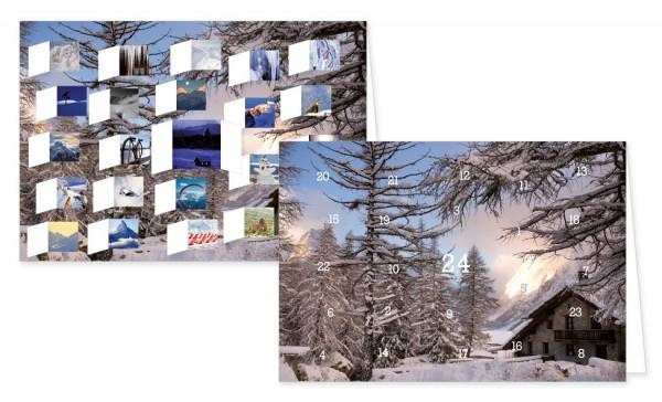 Adventskalenderdoppelkarte 'Winterliche Alpenstimmung'