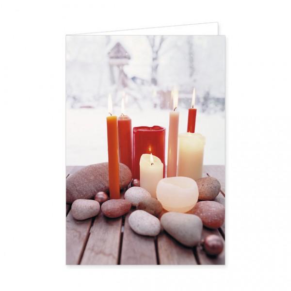 "Doppelkarte ""Steine mit bunten Kerzen"""